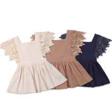 Vintage Infant Newborn Baby Girls Dress Summer Lace Ruffles Princess Baby Girl Dresses Party Travel Holiday Costumes