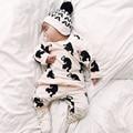 Новые Прибыл 2017 Моды Baby Boy Одежда Комплект Одежды Младенца Хлопка С Длинными Рукавами Печатных Футболку + Брюки Девушка Новорожденный Одежда