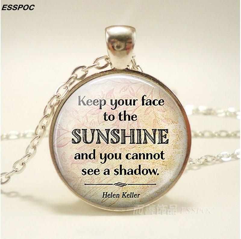 Helen Keller Inspiring Quote Necklace