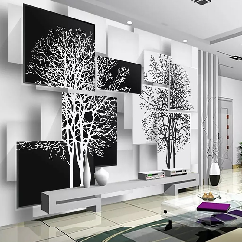 Custom Photo Wallpaper Modern Minimalist Black White Tree 3D Wall Cloth Mural Living Room Bedroom Wall Decoration  Wall Covering