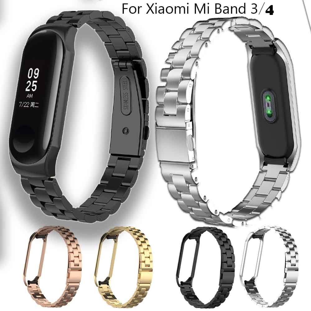 Stainless Steel WatchStrap For Xiaomi Mi Band 3 Smart Wristband Bracelet Accessories For Xiaomi Mi Band 4 Belt Sport+Metal Case