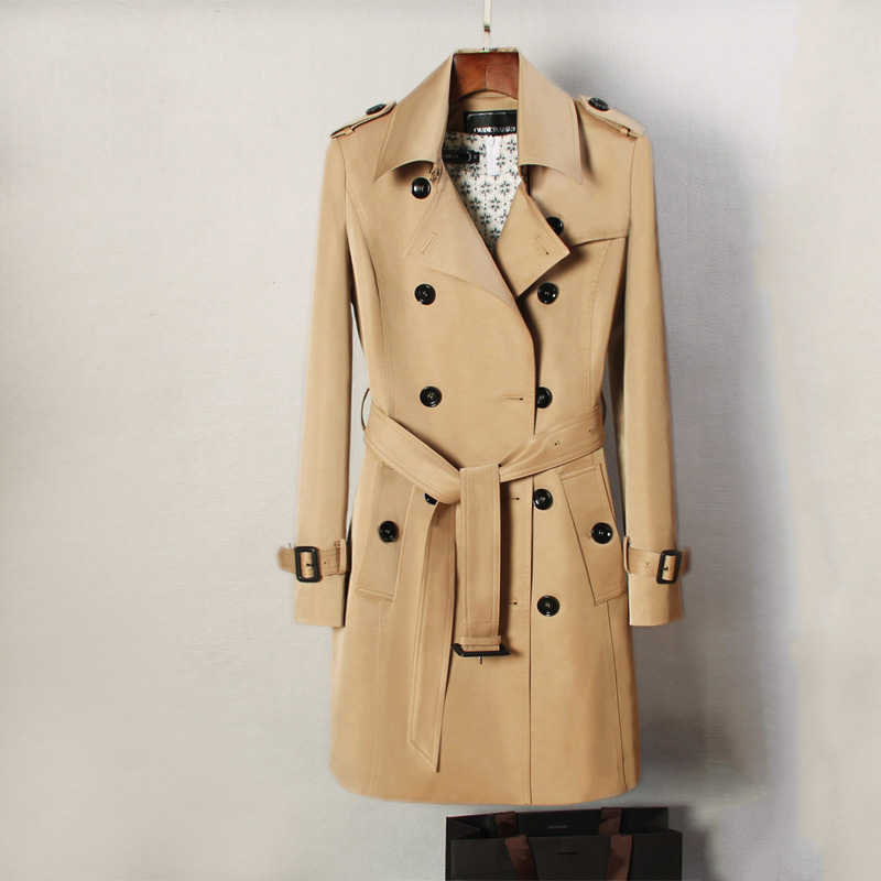 England style khaki color trench coat women turn down collar double breasted slim outerwear 2019 autumn winter