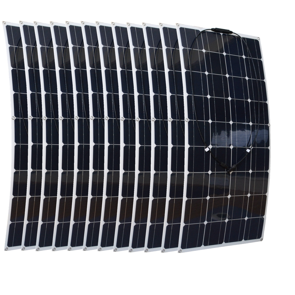 12pcs Mono 100W Flexible Solar Panels Module Houseuse 1200W Solar Power System Kit Factory Price Solar Charger for RV Boat 2pcs 4pcs mono 20v 100w flexible solar panel modules for fishing boat car rv 12v battery solar charger 36 solar cells 100w