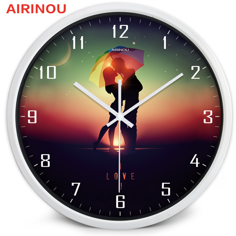 Airinou Romantic Lover In The Evening With Umbrella Style Wall Clock With  Metal And Glass Young Men In Wall Clocks From Home U0026 Garden On  Aliexpress.com ... Ideas