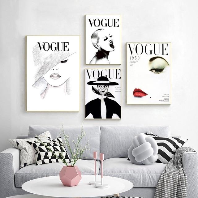 Nordic Poster Modern Fashion Vogue Canvas Art Wall Portrait Home Decor