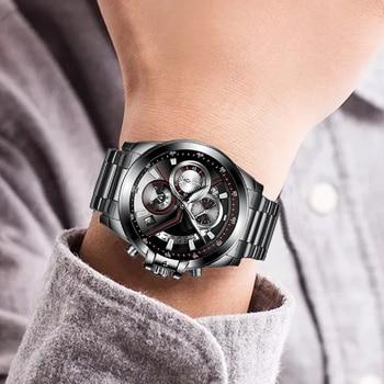 CADISEN Men's Luxury Stainless Steel Waterproof Quartz Watches 5