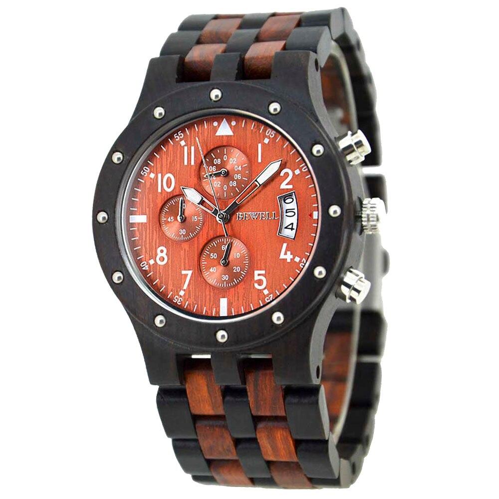 BEWELL Wood Watch Mens Watches Top Brand Luxury Designer Military Watch Quartz Analog Wrist Watch with Chronograph Calendar Date 10
