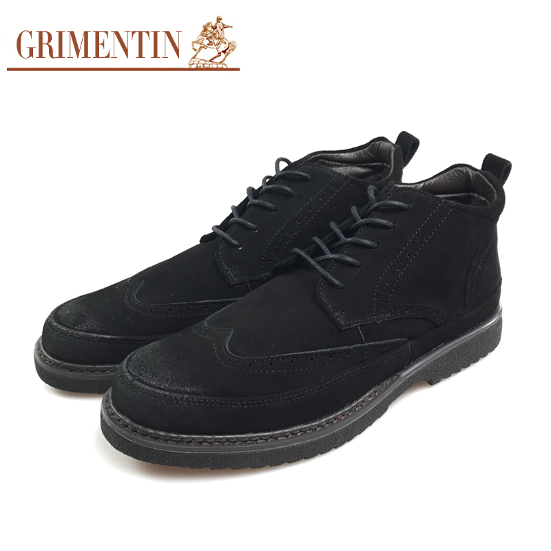 a00d4c1fb7b1e US $139.0 |GRIMENTIN Mens Boots High Top Suede Leather Ankle British Style  Vintage Wingtip Carved Black Lace Up Round Toe Dress Boots F4-in Basic ...