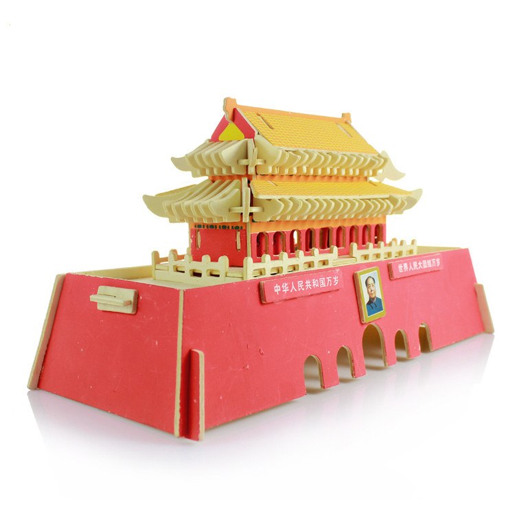 Handmade wooden jigsaw puzzle educational toys for children diy 3d three-dimensional toy China Wind Beijing Tiananmen Square children s early childhood educational toys the bear change clothes play toys creative wooden jigsaw puzzle girls toys