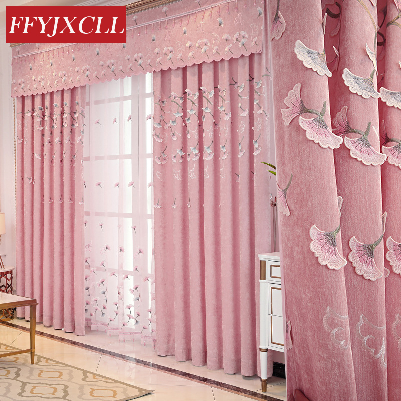 Pink Floral Embroidered  Window Valance Curtains For Living Room Window Curtains Blackout For Bedroom Kitchen Drapes Home Decor