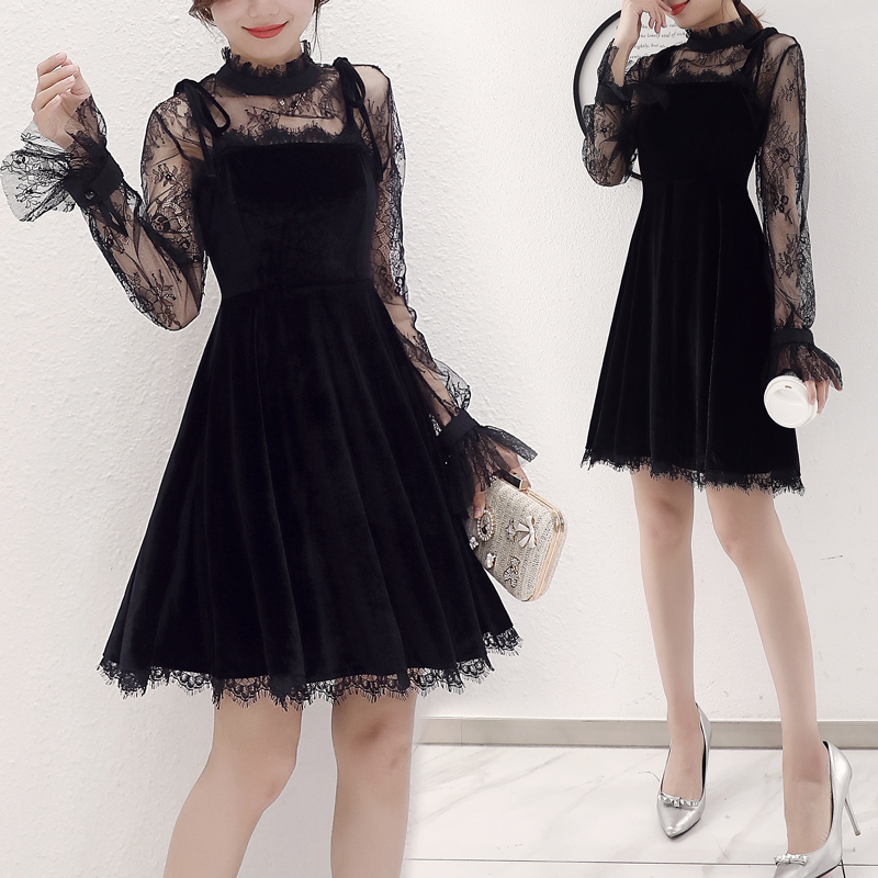 2019 new women's sexy retro black mesh lace dress gold velvet short backless dress sling a word skirt sets 2 two-piece set women Price $47.40