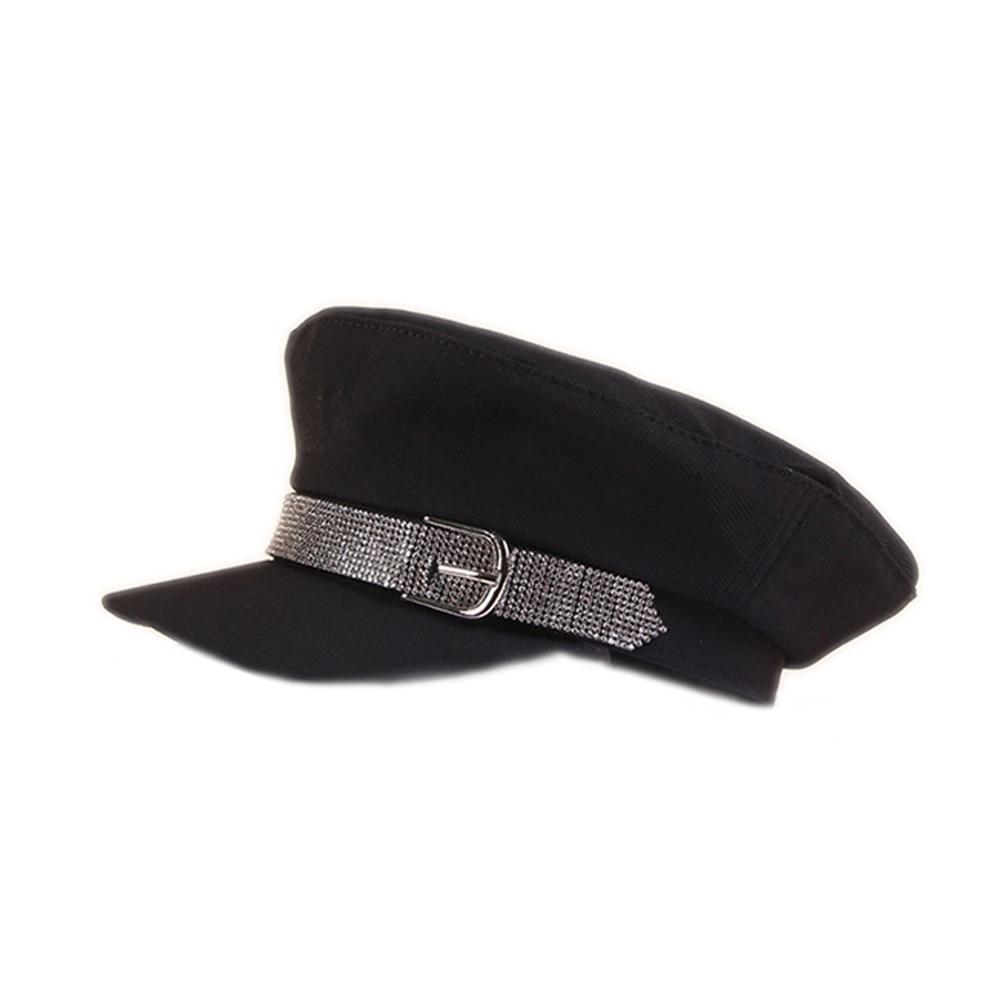 Women Retro Sequin Cap Elegant Cotton Visor Military Octagonal British Hat Female Summer Vintage Casual 2022 Black Solid Spring