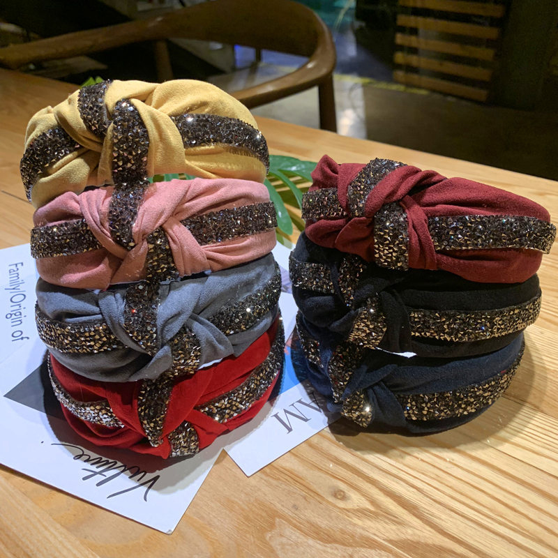 Fashion Ladies Tie Headband Edge Plush Hairband Knot Hair Band Hoop Accessories