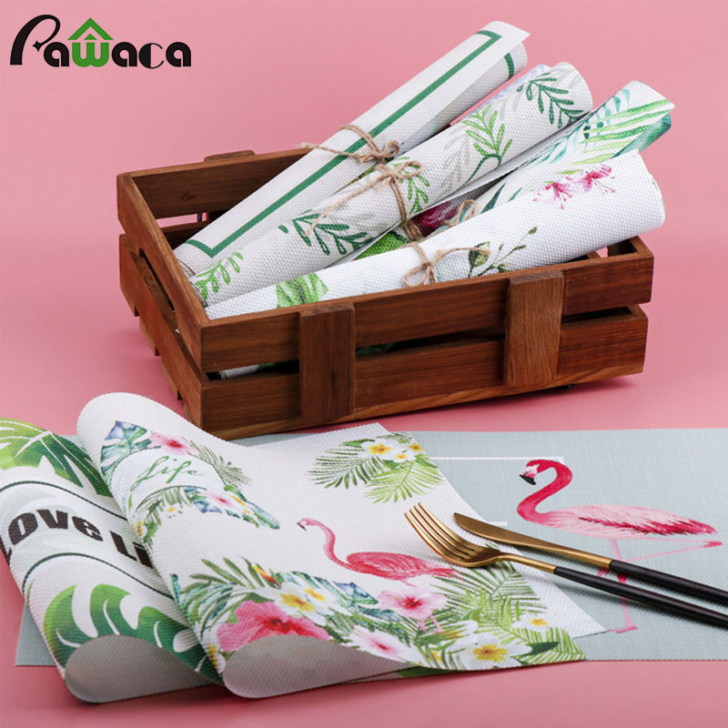 4Pcs/lot Teslin Dinner Placemat Flamingos PVC Dining Table Mat Disc Bowl Pad Coasters Waterproof Table Decor Slip-Resistant Pad