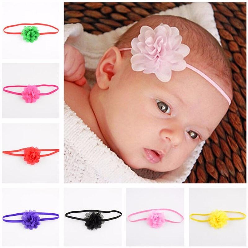 New 10Pcs Newborn Kids Girls Baby Toddler Chiffon Flower Hair band Headband Headwear