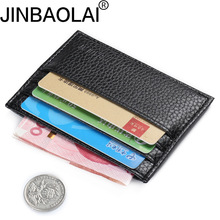 JINBAOLAI Slim leather multi-card-bit pack bag men Wallet Creadit Card Holder bank cardholder pickup package bus card holder