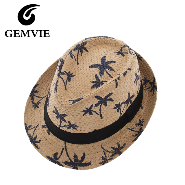Summer Straw Hats For Adult Child Panama Hat Coconut Tree Jazz Caps Casual  Beach Visor Hat Parent-child Cap 18c3f7ac854e