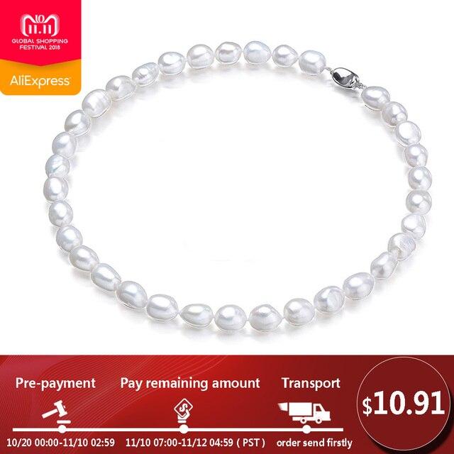 edc96a916409 Precio bajo blanco Real perla Natural barroca collares para las mujeres  moda perlas de agua dulce