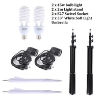 Photo Studio Lighting Kit With 2m Light Stand 2pcs 33 White Soft Light Umbrella 2