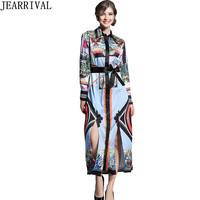 High Qaulity Vintage Print Runway Dress 2018 New Fashion Long Sleeve Turn Down Collar Split Party