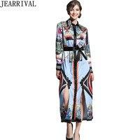 High Qaulity Vintage Print Runway Dress 2018 New Fashion Long Sleeve Turn Down Collar Split Party
