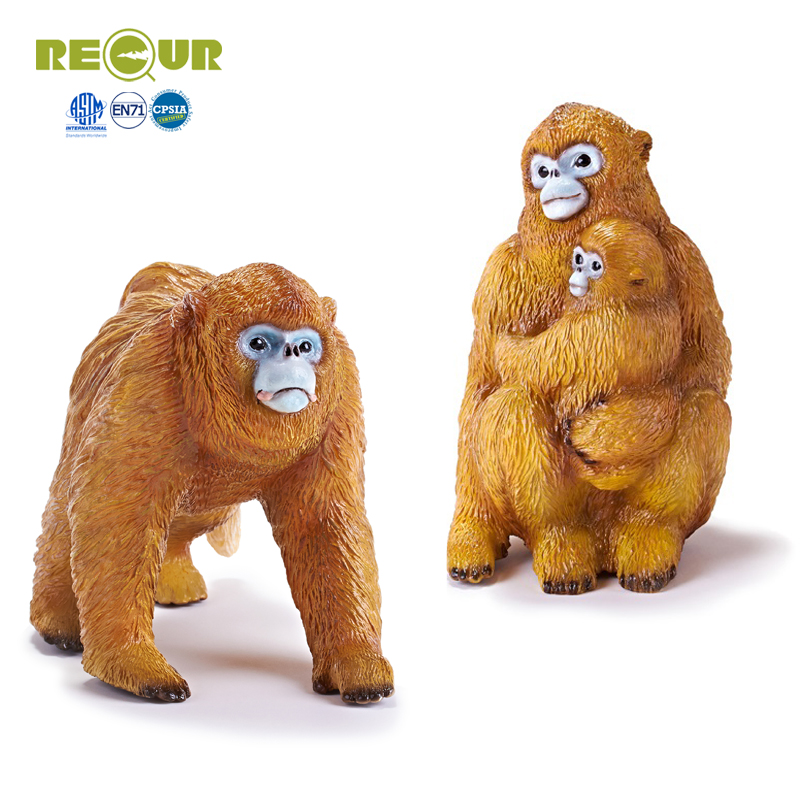 Recur Golden snub-nosed monkey figure wild animal Simulation Model Hand Painted Action Figures Collection Gift For kids recur toys high quality horse model high simulation pvc toy hand painted animal action figures soft animal toy gift for kids