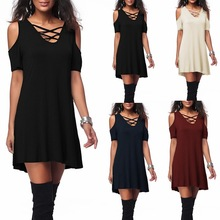 women sexy  mini dress party night club Cotton Solid Short V-Neck dresses