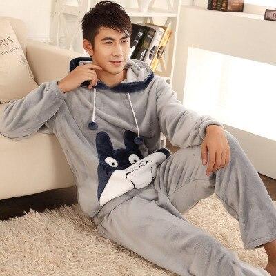 O envio gratuito de Outono e inverno dos homens espessamento flanela Pijamas plus size sleepwear masculino dos desenhos animados coral fleece set lounge L-4xl