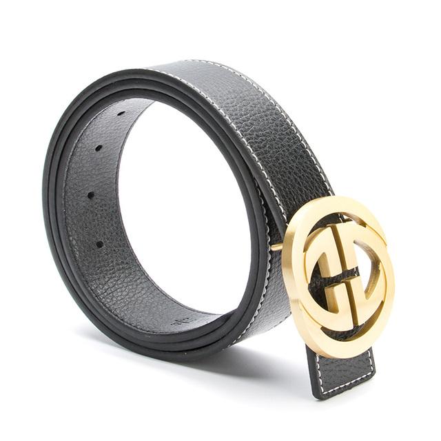 2017 Nuevo Lujo de Latón Macizo Doble G Cinturones Diseñador de Alta calidad Masculina Mujeres de Cuero Verdadero Genuino GG Hebilla de La Correa para Los Pantalones Vaqueros