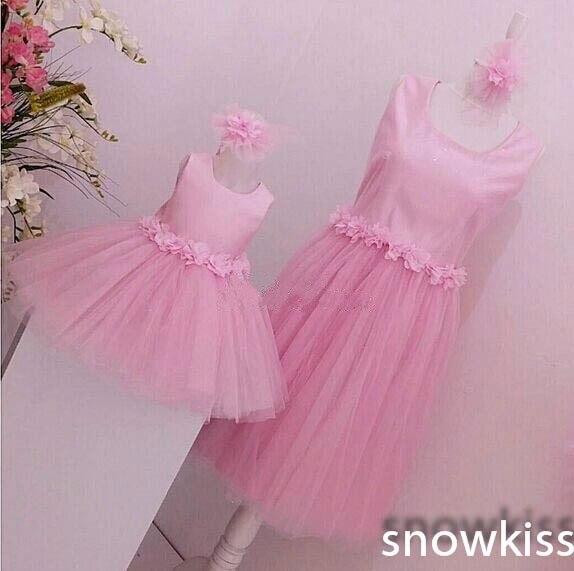 3D fleurs rose tulle genou longueur petites robes bouffantes bébé anniversaire bal soirée tenue mère et fille thé fête robe