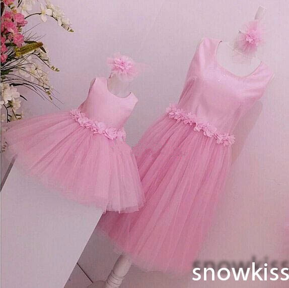 3D flowers pink tulle Knee-Length little girl dresses puffy baby Birthday prom evening outfit mother and daughter tea party gown
