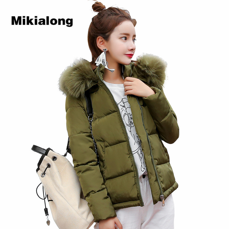 Mikialong 2017 Korean Drawstring Waist Winter Jacket Women Thick Warm Fur Collar Parka Femme Black White Hooded Quilted Coat mikialong hooded fur collar women parka 2017 thick warm long padded winter jacket women solid oversized cotton quilted coat