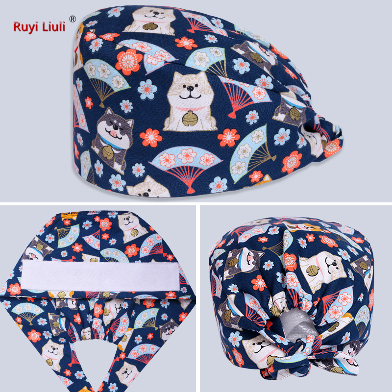 Cotton Printed Operating Room Cap For Men And Women Doctors And Nurses Working Cap Covering Head Scarf Surgical Cap