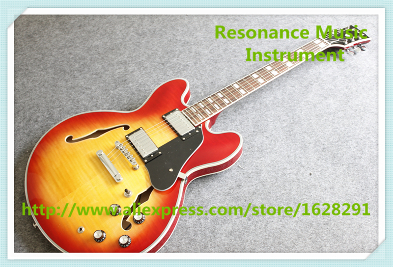 Hot Selling China CS Cherry Sunburst Finish ES 335 Electric Guitar With Maple Hollow Guitar Body Free Shipping china oem firehawk shop guitar hot selling tl electric guitar stained maple tiger stripes maple wood color page 9