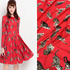 DGV Polyester Silk Satin Fabric Animal Red Cat Print Silk Stretch Satin Fabric Fashion Show Women