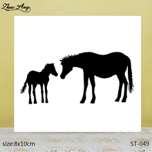 ZhuoAng  Beautiful black double horse transparent silicone stamp / DIY scrapbook photo album decorative seal