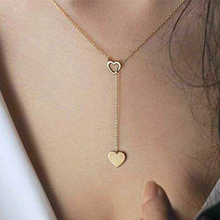 x92 Fashion Jewelry Gold Color Love Heart Long Pendant Necklace Adjustable Chain Necklace For Women Wedding Jewelry Wholesale