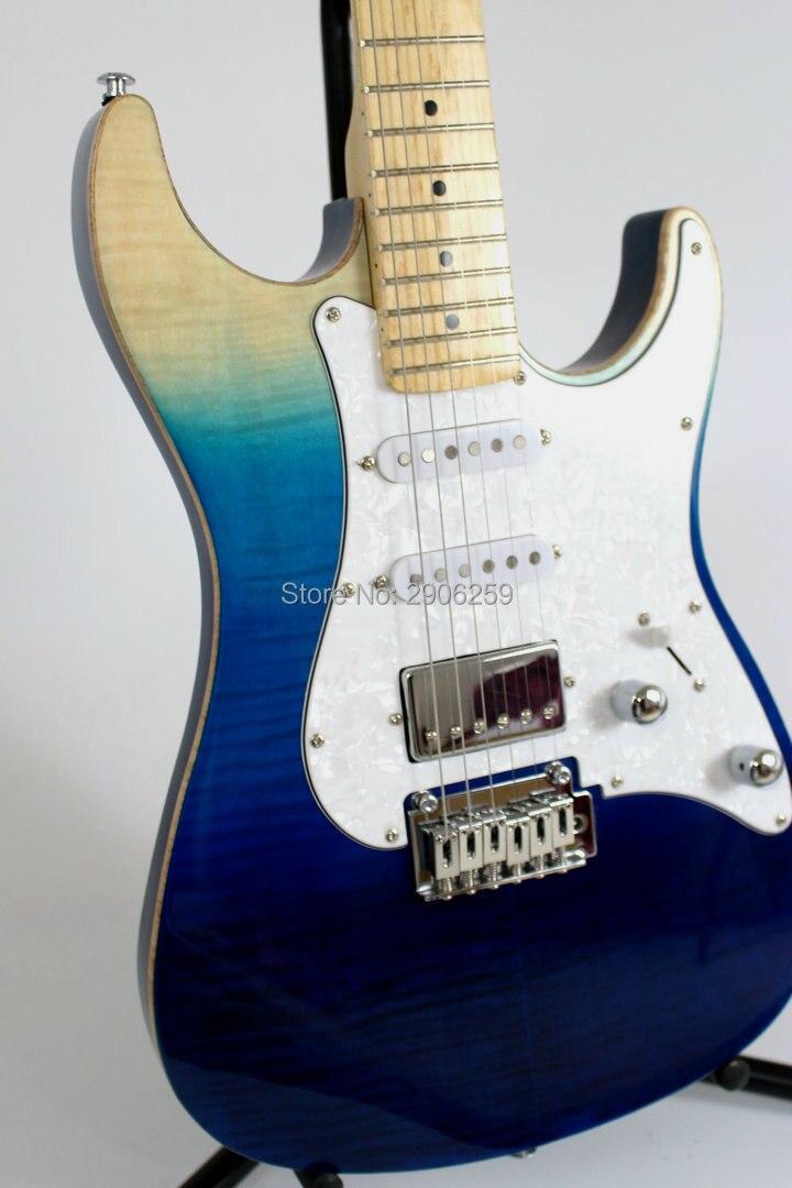 Vendita calda handmade tom anderson chitarra elettrica tiger striped acero corpo in mogano cera copertura pickup chrome ferramenteria e attrezzi libera la nave