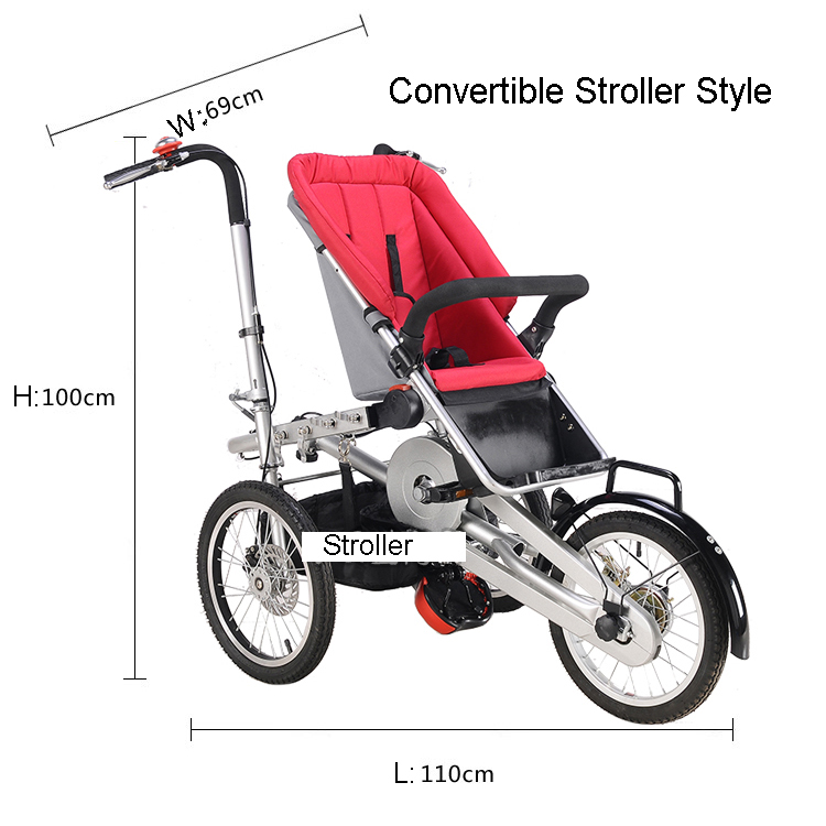 Whole set sell Folding Bike Pushchair+ 1 Shopping Basket 16 inch Baby Stroller 3 Wheels Mother Bike Convertible Stroller 3 in 1 whole set selling 16 folding mother