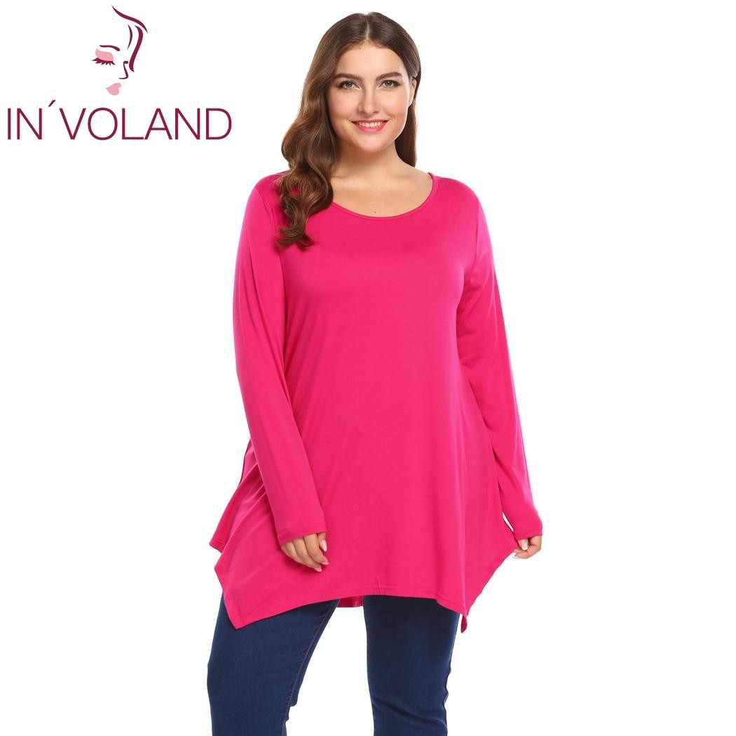 8738b76a237 Detail Feedback Questions about IN'VOLAND Women Tops T Shirts Plus Size  Autumn Long Sleeve Solid Casual Irregular Hem Pullovers Tunic Tshirt Tee  Oversized ...