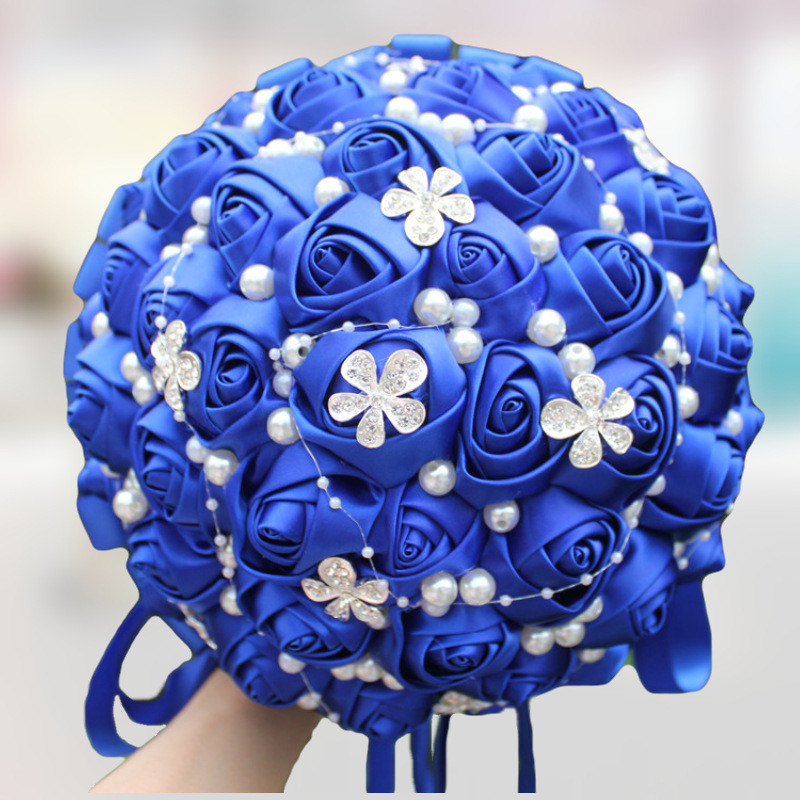 Customized Different Styles Of Royal Blue Wedding Bouquet Ribbon Rose Rhinestones To Decorate The Bride Wedding Bouquet