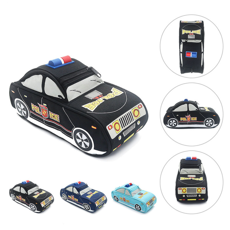 1pc Pencil Case Car With Pen Bag Police Pencil Case For Boy Double Zipper Canvas Large Big Cute School Pencil Case