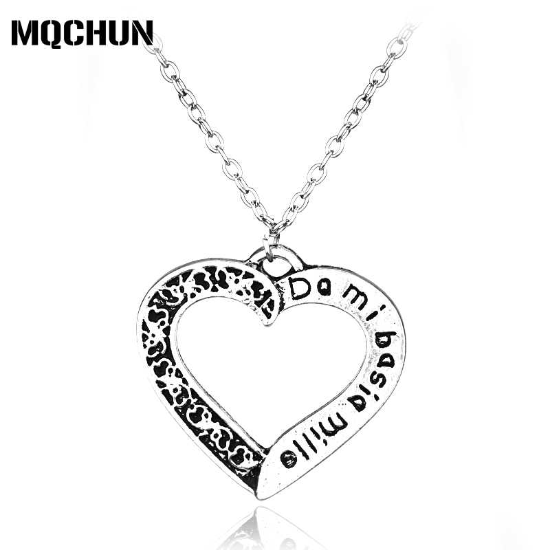 Movie Series Fashion Jewelry's Silver Plated Vintage Outlander Dami Basia Mille Heart Shape Pendant Necklaces for Women