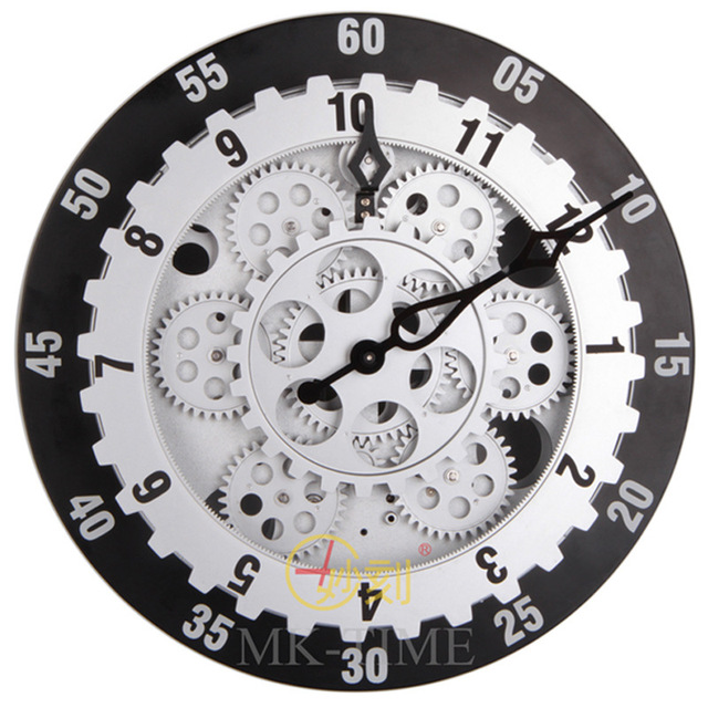 Wonderful carved hollow ring gear mechanical clock gear wall clock ...