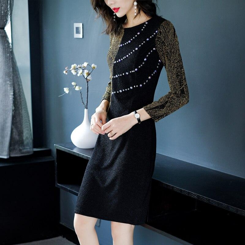 Piste Robes Plus Robe Femmes Mince Élégant Perles Vintage Black La Patchwork Moulante Noir Vêtements Longues Taille Manches Fw7TzH