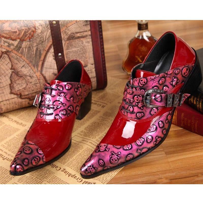 Personnalité punk rock hommes chaussures ventes chaudes de mode crâne bout pointu hommes lacent talons hauts partie discothèque bar homme robe chaussures