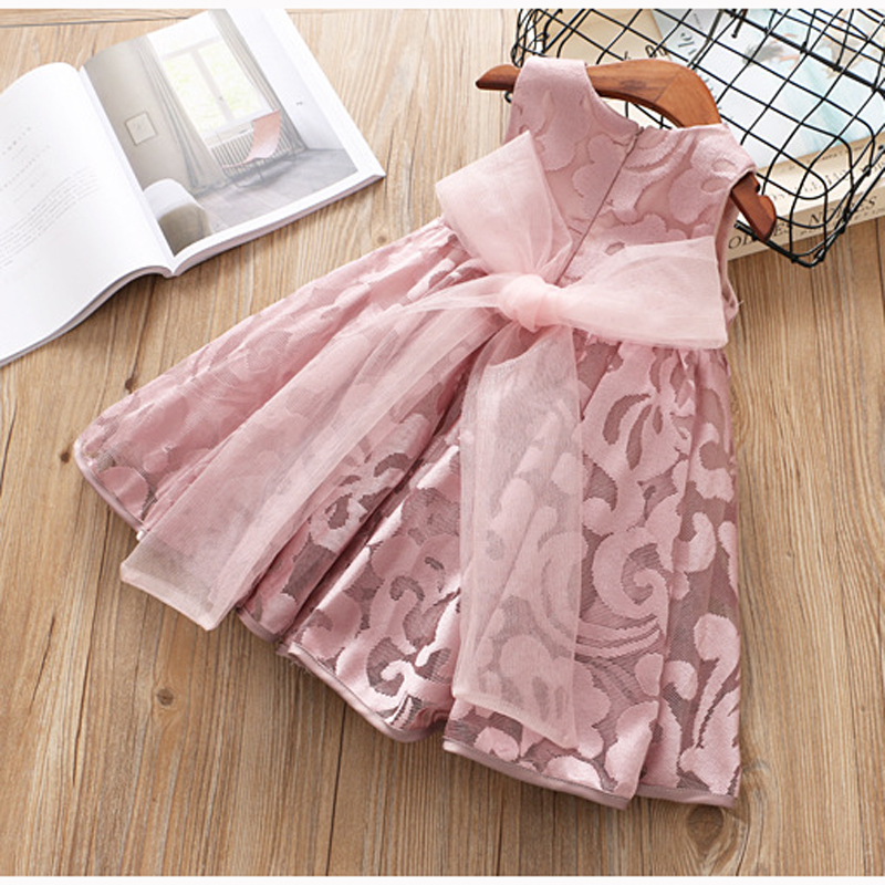 Hurave new big bow Girl clothes Summer sleeveless bow crew neck dress Kids Clothes Casual cotton embroidery princess dresses hurave 2018 baby girls clothes children sleeveless crew neck mesh tutu dresses causal striped cotton infant lace shirts dress