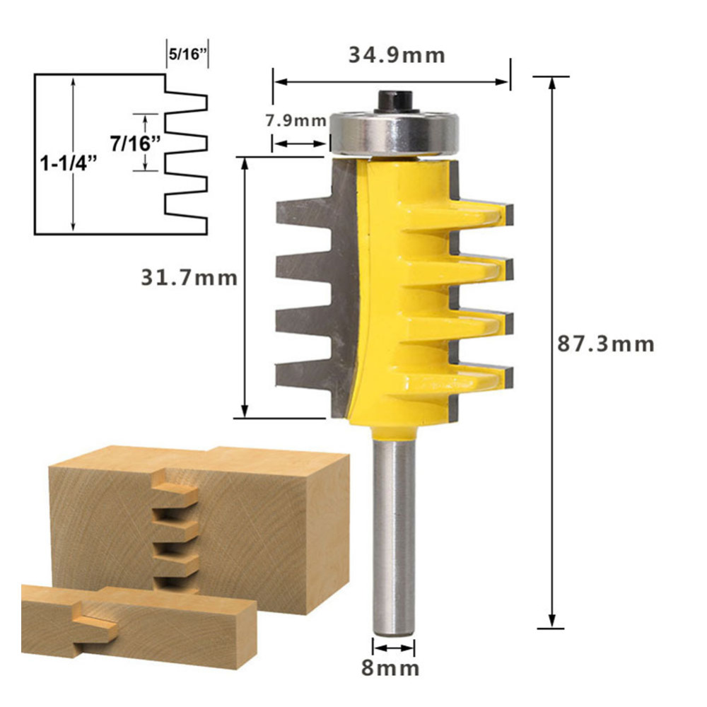 Image 5 - 8 handle Engraving machine milling cutter 8mm Shank Rail Reversible Finger Joint Glue Router Bit Cone Tenon Woodwork Cutter-in Milling Cutter from Tools