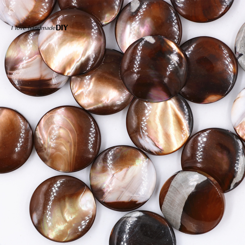 6 pcs/lot Round Shape Natural Stone Beads Brown Color DIY Accessories of Jewelry Makings PJ0128-6