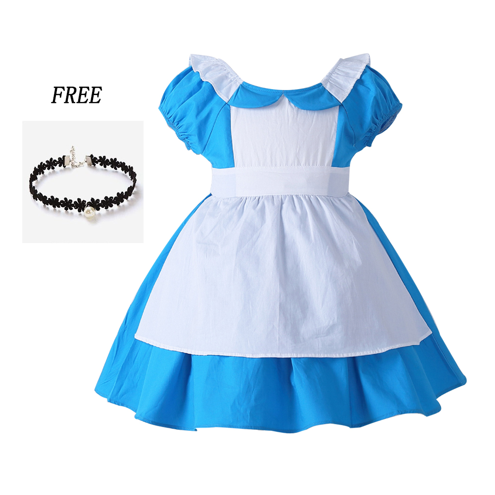 все цены на Girl Alice dress Baby Cotton Lolita Alice Tutu Dress Halloween Birthday Alice In Wonderland Costume Dress Free Necklace